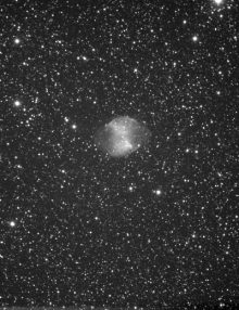 M27 from a stack of 40 x 10 second Ultrastar frames in Starlight Live. Taken with Takahashi FSQ106 at F5